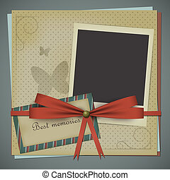 Retro scrapbooking postcard with a bow and a blank polariod style photo. EPS10 vector