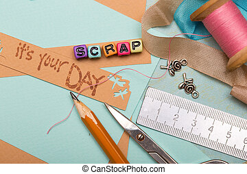 scrapbooking - scrapbook background. Card and tools with ...