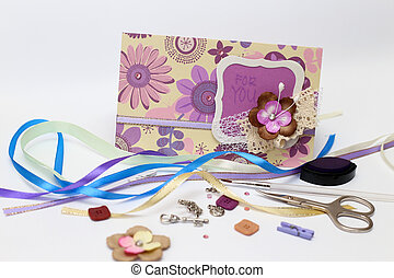 scrapbooking - scrapbook. Card and tools with decoration on ...
