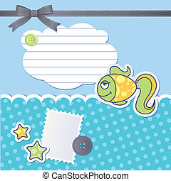 scrapbooking set with cartoon fish, sewing buttons and bow