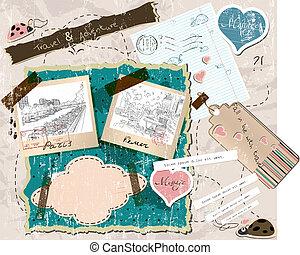 scrapbooking, set, met, postzegels, en, foto, frames.