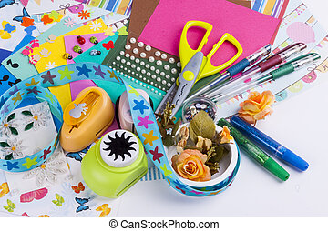 Scrapbooking set on white background. - Scrapbooking set -...