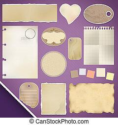 scrapbooking, set:, zerrissenen papier