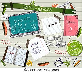 scrapbooking, skola, affisch, baksida