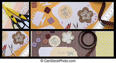 scrapbooking - collage - hand made scrapbooking post card...