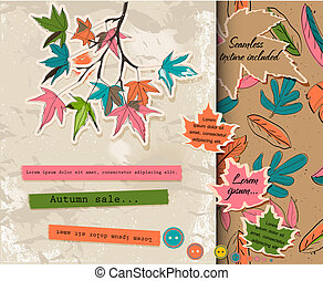 scrapbooking, sur, autumn., ensemble