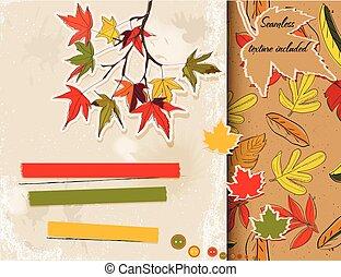 scrapbooking, sur, autumn., ensemble