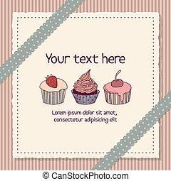 scrapbooking, tarjeta, con, cupcakes