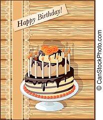 scrapbooking, tarjeta de cumpleaños, con, taza