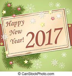 scrapbooking, tarjeta, feliz año nuevo, 2017