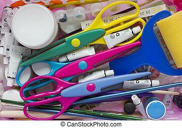 Scrapbooking tools background