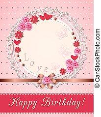 scrapbooking, vendange, serviette, anniversaire, fleurs, carte