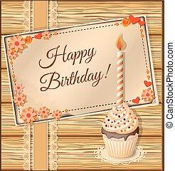scrapbooking, verjaardag kaart, met, kop