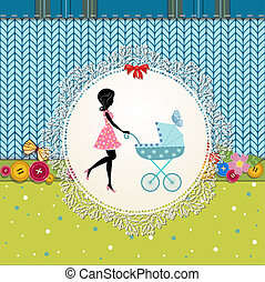 Scrapbooking with a baby carriage and a young mother