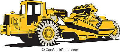 Scraper Heavy Machinery Paving - Scraper or heavy machinery...