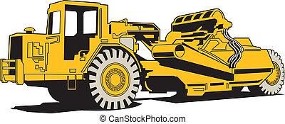 Scraper or heavy machinery for asphalt paving.