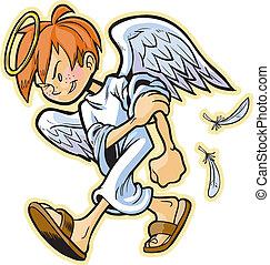 scrappy, ángel, con, pelo rojo, vector