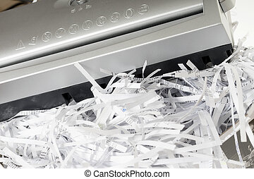Scraps of paper from a paper shredder
