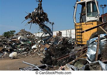 scrapyard, lastwagen, grabber