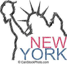 scratch new york - illustration of new york text and statue ...
