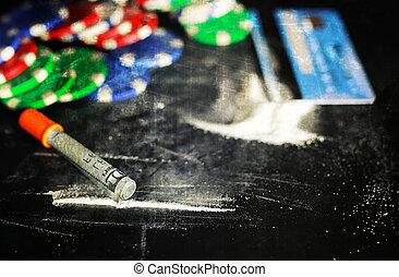 scratch photo concept addiction cocaine alcohol glass drug