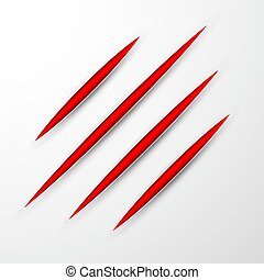 Scratch set. Claws scratching animal scrape track. Vector illustration