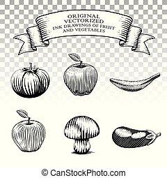 scratchboard, stile, prelievi inchiostro, di, frutta, e, verdura