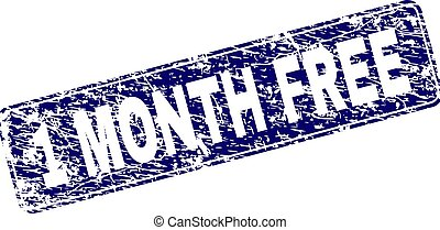 Scratched 1 MONTH FREE Framed Rounded Rectangle Stamp
