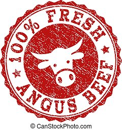 Scratched 100% FRESH ANGUS BEEF Stamp Seal