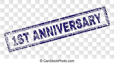 Scratched 1ST ANNIVERSARY Rectangle Stamp