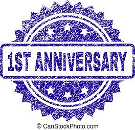 Scratched 1ST ANNIVERSARY Stamp Seal