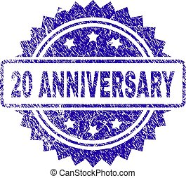 Scratched 20 ANNIVERSARY Stamp Seal
