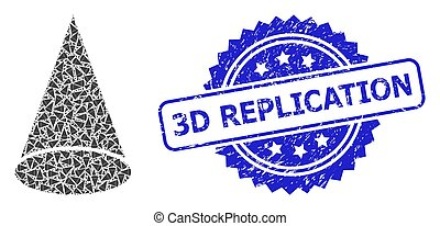 3D Replication unclean seal print and vector recursive collage cone figure. Blue stamp seal has 3D Replication text inside rosette.