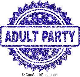 Scratched ADULT PARTY Stamp Seal
