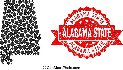 Scratched Alabama State Stamp and Mark Mosaic Map of Alabama State