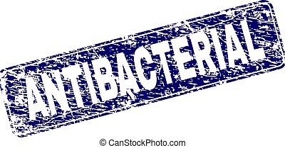 Scratched ANTIBACTERIAL Framed Rounded Rectangle Stamp