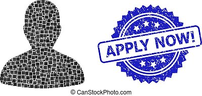 Scratched Apply Now! Watermark and Square Dot User Mosaic