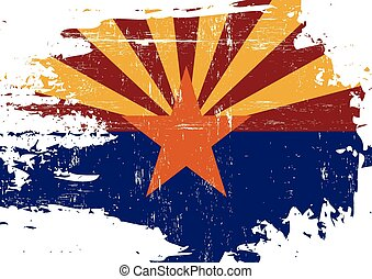 Scratched Arizona Flag - A flag of Arizona with a grunge...