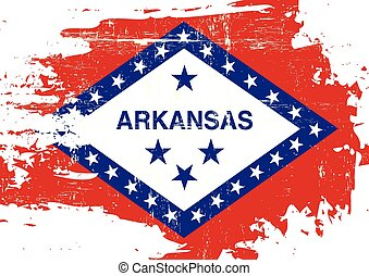 Scratched Arkansas Flag - A flag of Arkansas with a grunge...