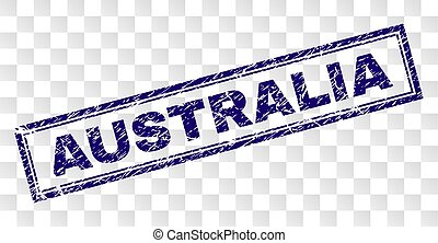 Scratched AUSTRALIA Rectangle Stamp
