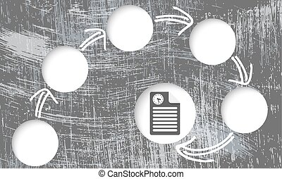 scratched background and circular boxes for your text and document icon