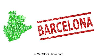 Scratched Barcelona Watermark and Green People and Dollar Mosaic Map of Barcelona Province
