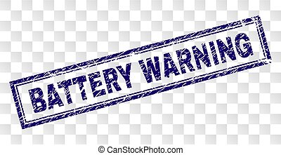 Scratched BATTERY WARNING Rectangle Stamp