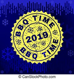 Scratched BBQ TIME Stamp Seal on Winter Background