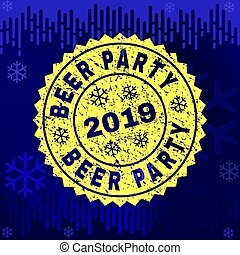 Scratched BEER PARTY Stamp Seal on Winter Background