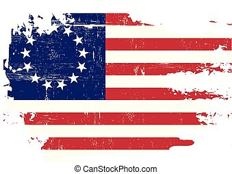 Scratched betsy Ross Flag - A flag of Old Union with a...