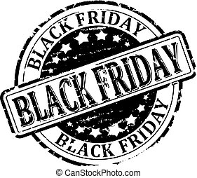 Scratched black round stamp with the inscription - Black Friday - vector eps