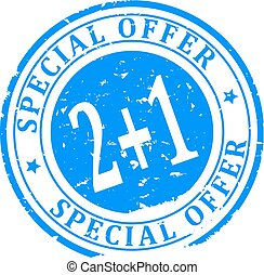 Scratched blue round stamp with the inscription - Special Offer 2 + 1 - Vector