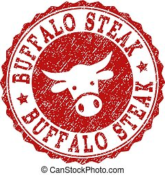 Scratched BUFFALO STEAK Stamp Seal