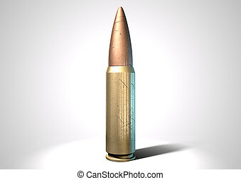 A regular scratched brass and copper bullet on an isolated white background